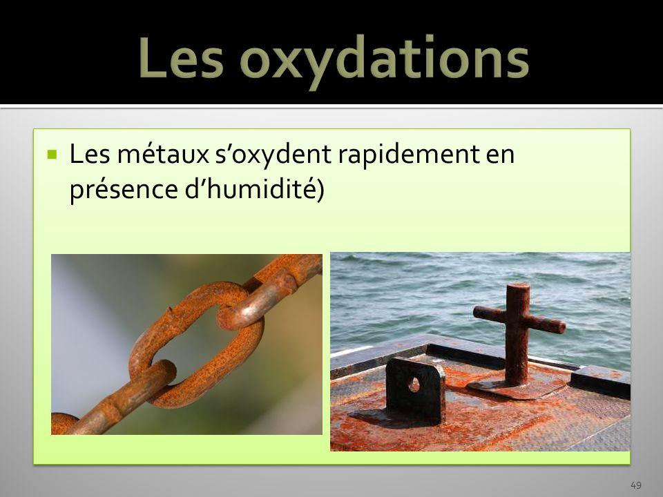 Les métaux soxydent rapidement en présence dhumidité) 49