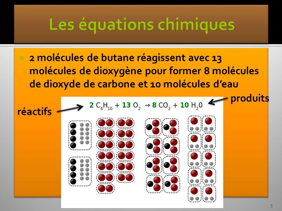 2 molécules de butane réagissent avec 13 molécules de dioxygène pour former 8 molécules de dioxyde de carbone et 10 molécules deau réactifs produits 5