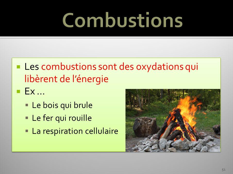 Les combustions sont des oxydations qui libèrent de lénergie Ex … Le bois qui brule Le fer qui rouille La respiration cellulaire Les combustions sont