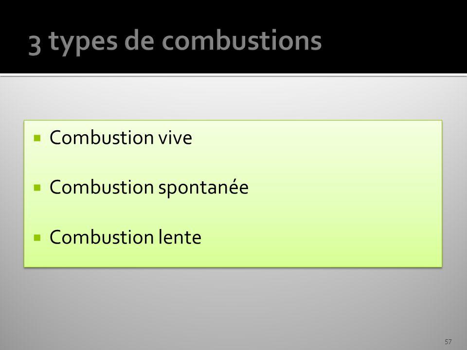 Combustion vive Combustion spontanée Combustion lente Combustion vive Combustion spontanée Combustion lente 57