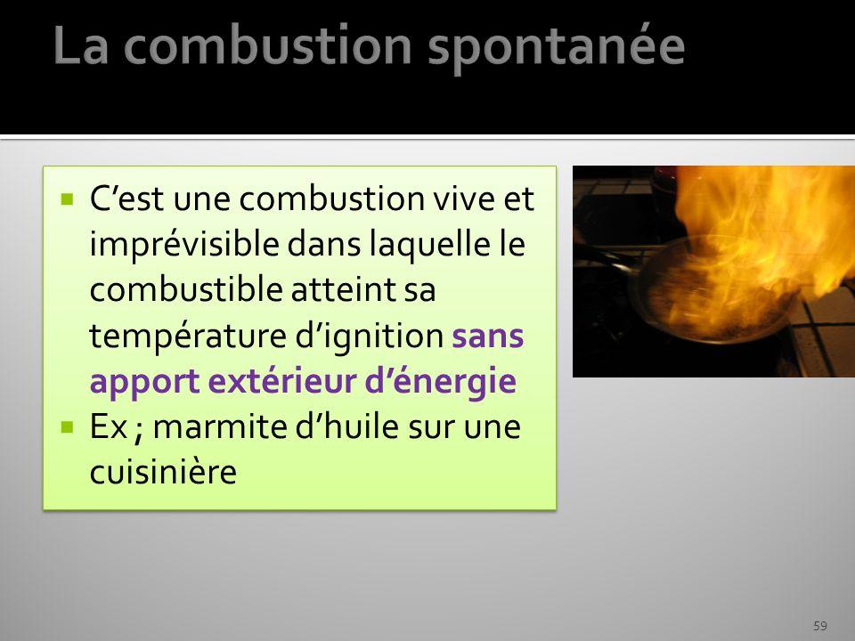 Cest une combustion vive et imprévisible dans laquelle le combustible atteint sa température dignition sans apport extérieur dénergie Ex ; marmite dhu