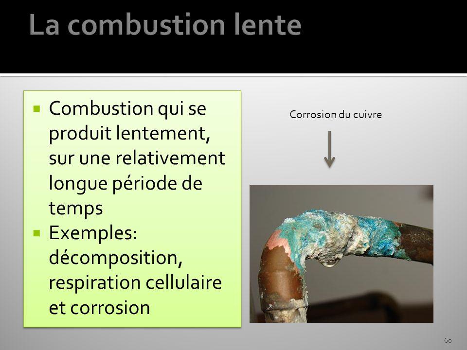 Combustion qui se produit lentement, sur une relativement longue période de temps Exemples: décomposition, respiration cellulaire et corrosion Combust