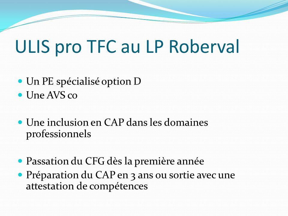 ULIS pro TFC au LP Roberval Un PE spécialisé option D Une AVS co Une inclusion en CAP dans les domaines professionnels Passation du CFG dès la premièr
