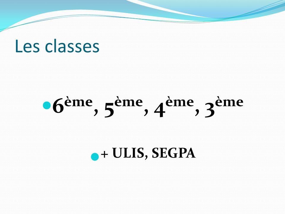 Les classes 6 ème, 5 ème, 4 ème, 3 ème + ULIS, SEGPA