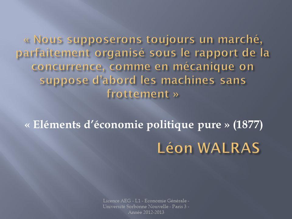 « Eléments déconomie politique pure » (1877)