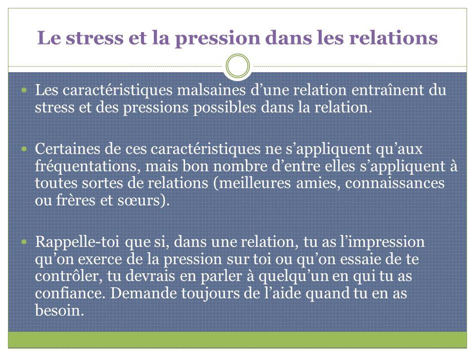 Le stress et la pression dans les relations Les caractéristiques malsaines dune relation entraînent du stress et des pressions possibles dans la relat