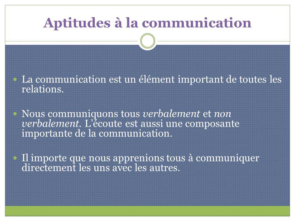 Aptitudes à la communication La communication est un élément important de toutes les relations. Nous communiquons tous verbalement et non verbalement.