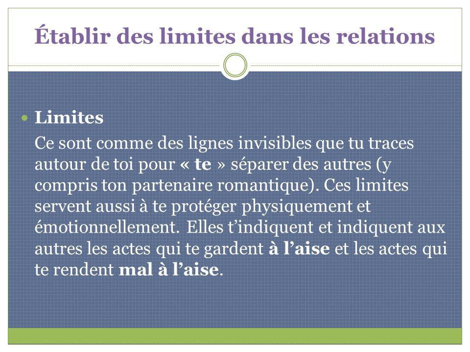 Établir des limites dans les relations Limites Ce sont comme des lignes invisibles que tu traces autour de toi pour « te » séparer des autres (y compr