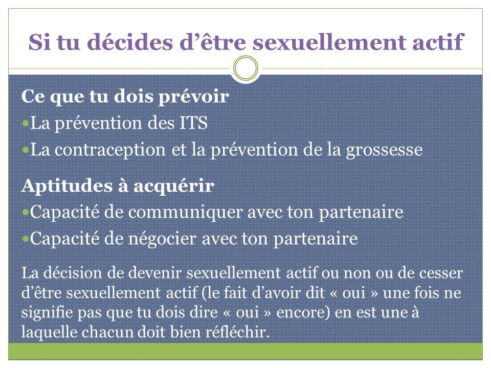 Si tu décides dêtre sexuellement actif Ce que tu dois prévoir La prévention des ITS La contraception et la prévention de la grossesse Aptitudes à acqu