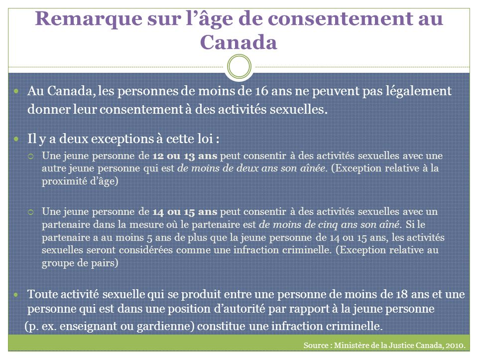 Remarque sur lâge de consentement au Canada Au Canada, les personnes de moins de 16 ans ne peuvent pas légalement donner leur consentement à des activ