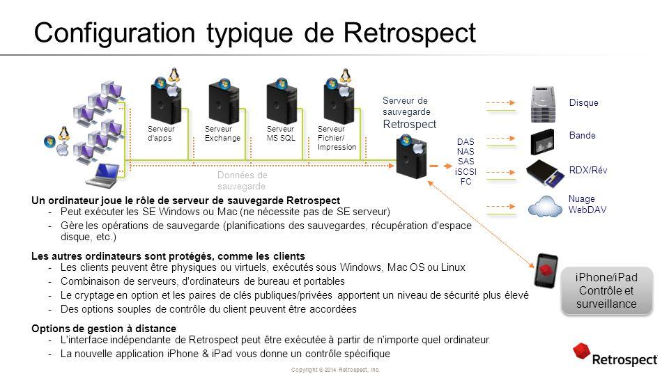 Copyright ® 2014 Retrospect, Inc. Configuration typique de Retrospect Un ordinateur joue le rôle de serveur de sauvegarde Retrospect -Peut exécuter le
