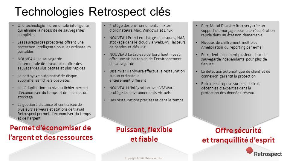 Copyright ® 2014 Retrospect, Inc. Technologies Retrospect clés Permet déconomiser de largent et des ressources Puissant, flexible et fiable Offre sécu