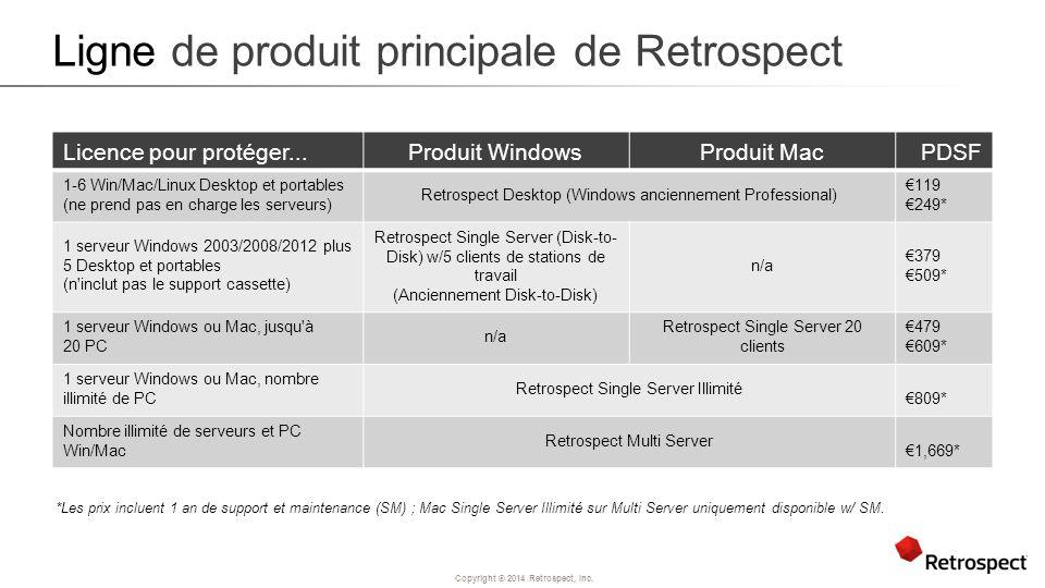 Copyright ® 2014 Retrospect, Inc. Ligne de produit principale de Retrospect Licence pour protéger...Produit WindowsProduit MacPDSF 1-6 Win/Mac/Linux D