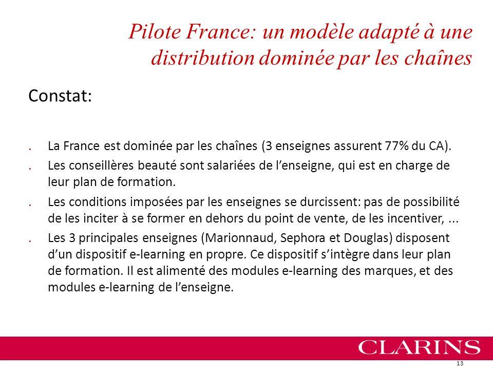 Pilote France: un modèle adapté à une distribution dominée par les chaînes Constat:.La France est dominée par les chaînes (3 enseignes assurent 77% du