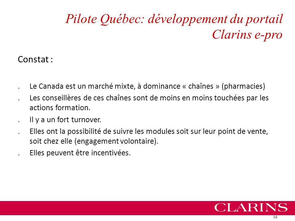 Pilote Québec: développement du portail Clarins e-pro Constat :.Le Canada est un marché mixte, à dominance « chaînes » (pharmacies).Les conseillères d