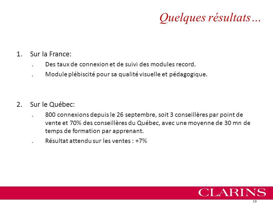 Quelques résultats… 1.Sur la France:.Des taux de connexion et de suivi des modules record..Module plébiscité pour sa qualité visuelle et pédagogique.
