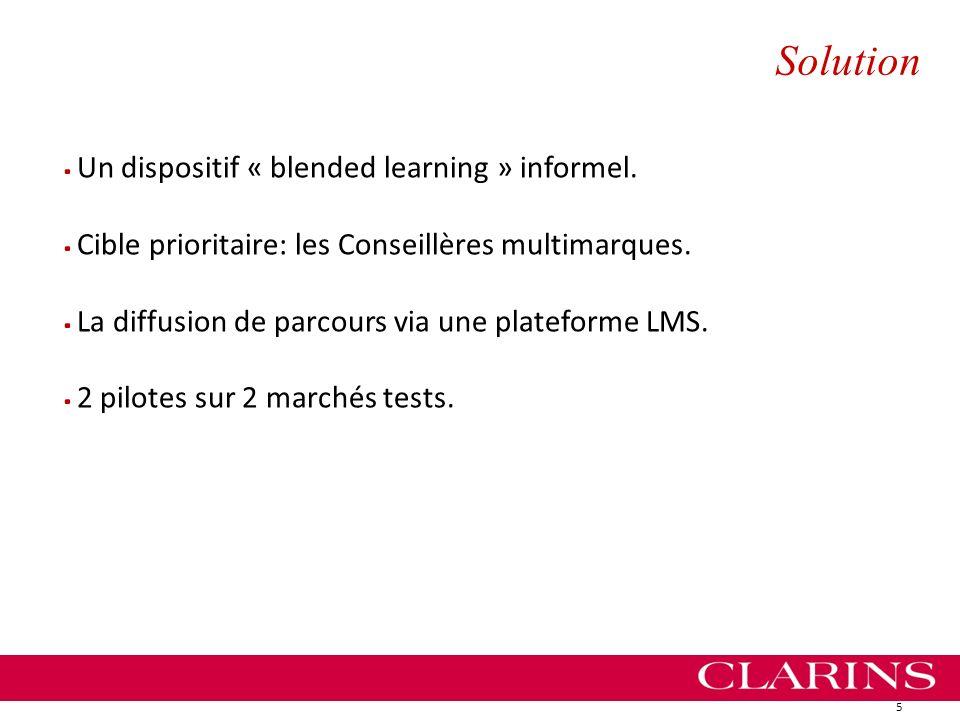 Solution 5.Un dispositif « blended learning » informel..Cible prioritaire: les Conseillères multimarques..La diffusion de parcours via une plateforme