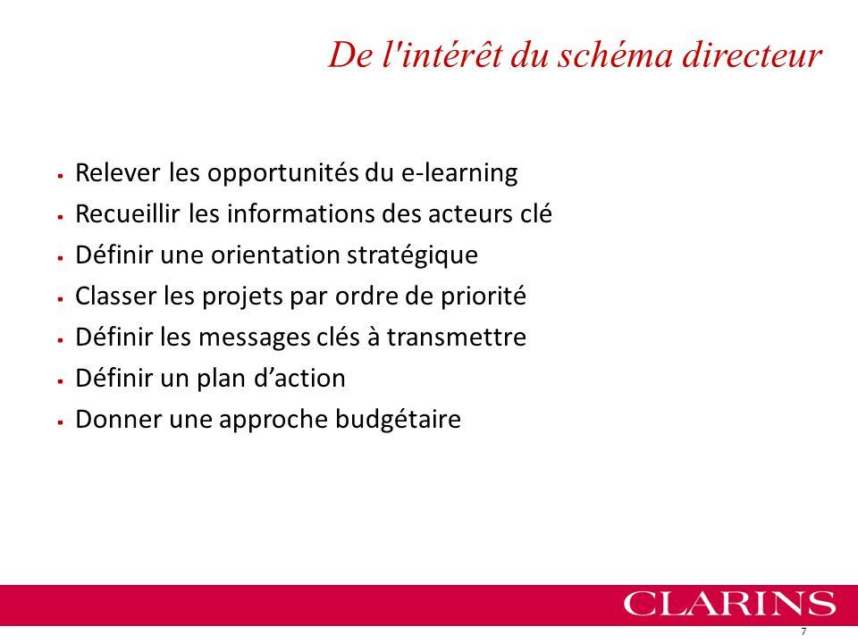 De l'intérêt du schéma directeur. Relever les opportunités du e-learning. Recueillir les informations des acteurs clé. Définir une orientation stratég
