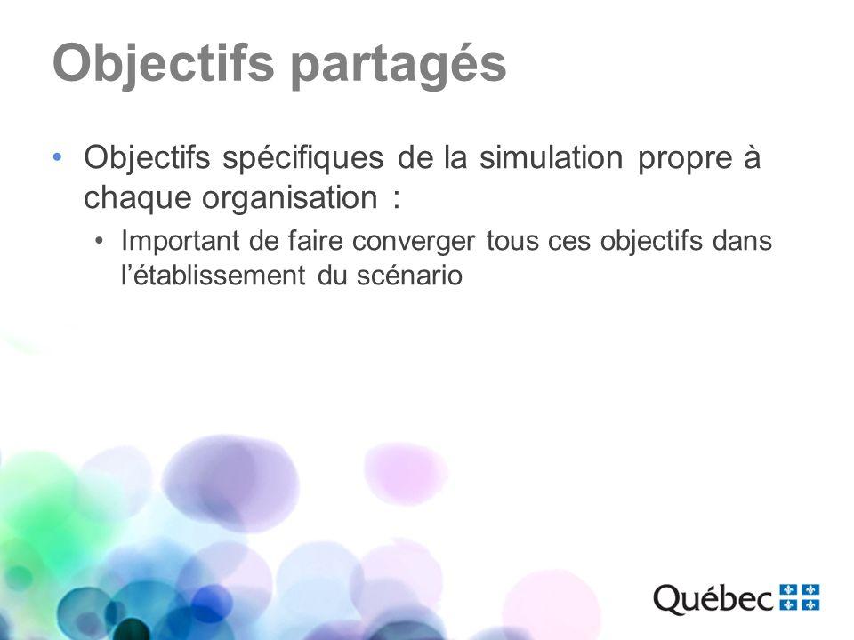 Objectifs partagés Objectifs spécifiques de la simulation propre à chaque organisation : Important de faire converger tous ces objectifs dans létablis