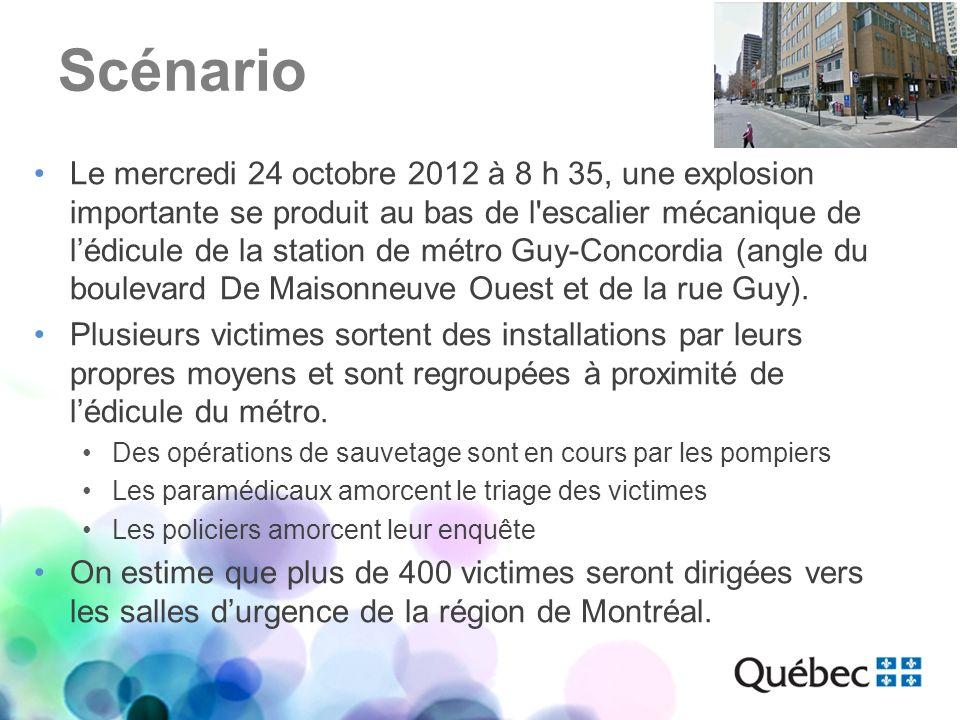 Scénario Le mercredi 24 octobre 2012 à 8 h 35, une explosion importante se produit au bas de l'escalier mécanique de lédicule de la station de métro G