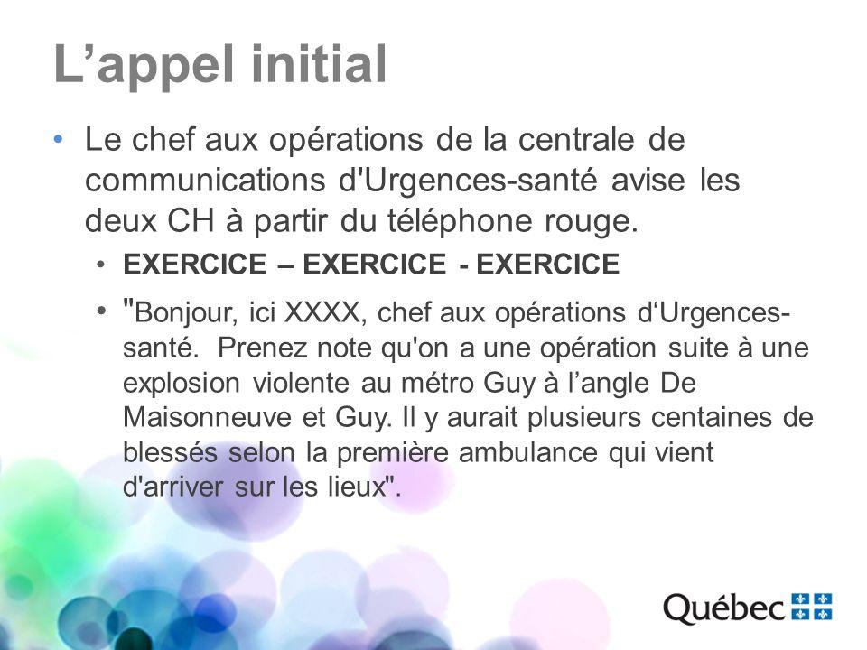 Lappel initial Le chef aux opérations de la centrale de communications d'Urgences-santé avise les deux CH à partir du téléphone rouge. EXERCICE – EXER