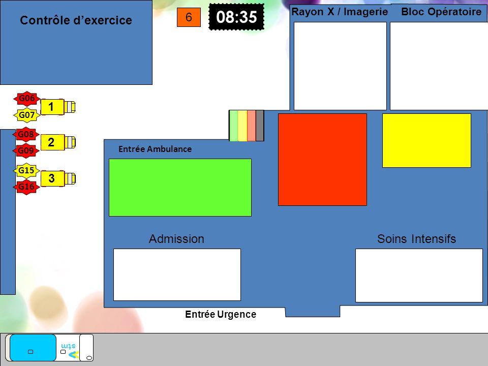 Entrée Urgence Entrée Ambulance vv stm Soins Intensifs Bloc Opératoire Rayon X / Imagerie Admission 08:35 6 G15 G16 G08 G07 G06 G09 1 2 3 Contrôle dex