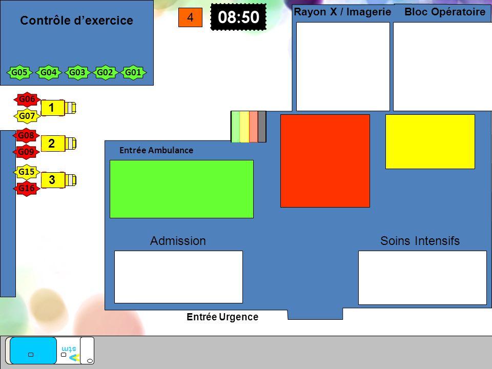 Entrée Urgence Entrée Ambulance vv stm Soins Intensifs Bloc Opératoire Rayon X / Imagerie Admission G01G02G03G04G05 08:50 4 G15 G16 G08 G07 G06 G09 1