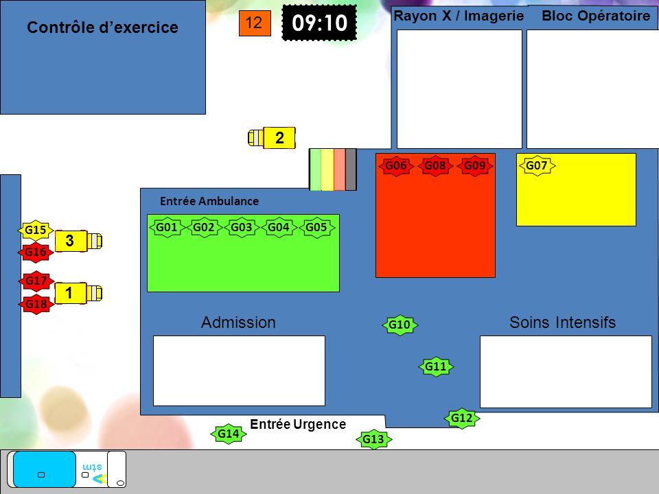 Entrée Urgence Entrée Ambulance vv stm Soins Intensifs Bloc Opératoire Rayon X / Imagerie Admission G01 G02G03G04 G05 G10 G11 G12 G13 G14 G17 G18 09:1