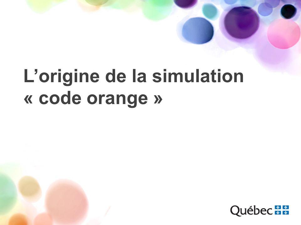 Aspect planification et coordination Identification du CH participant Centre universitaire de santé McGill –Hôpital général de Montréal –LHôpital de Montréal pour enfants Formation interne de tout le personnel de lurgence au protocole « code orange »
