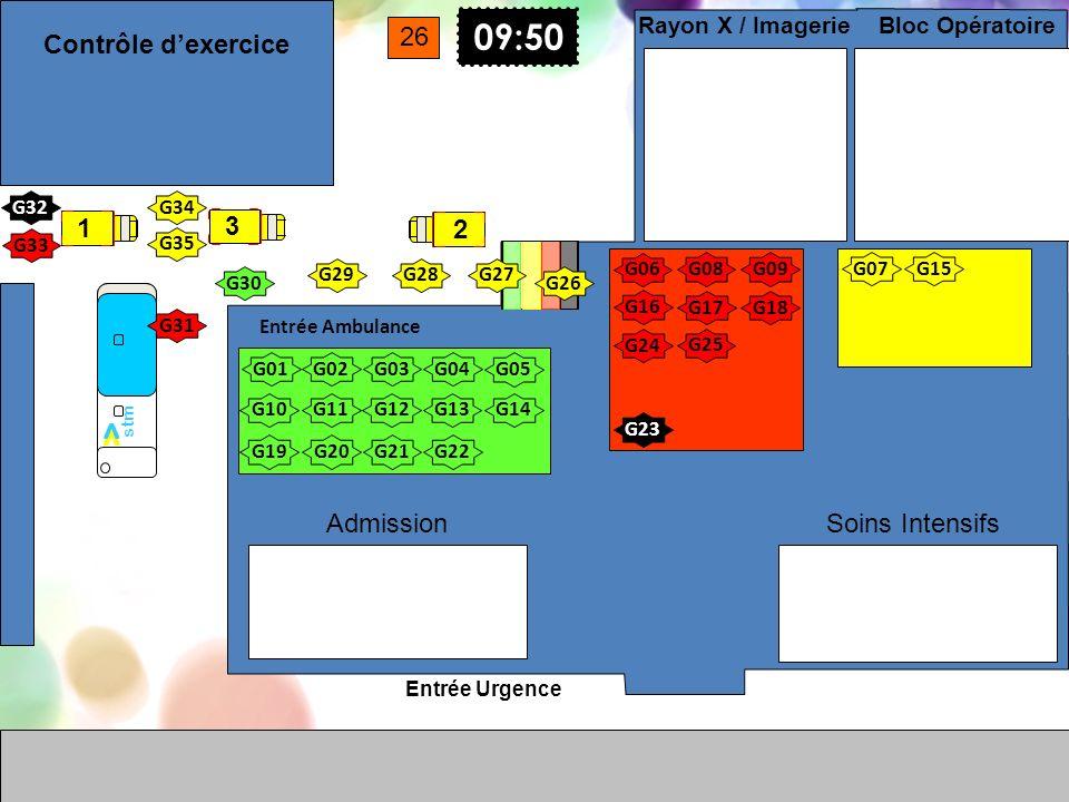 Entrée Urgence Entrée Ambulance Soins Intensifs Bloc Opératoire Rayon X / Imagerie Admission G01 G02G03G04 G05 G10G11G12G13G14 G17G18 09:50 G08 G07 G0