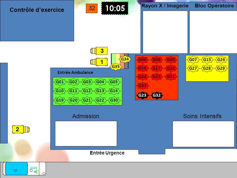 Entrée Urgence Entrée Ambulance Soins Intensifs Bloc Opératoire Rayon X / Imagerie Admission G01 G02G03G04 G05 G10G11G12G13G14 G17G18 10:05 G08 G07 G0