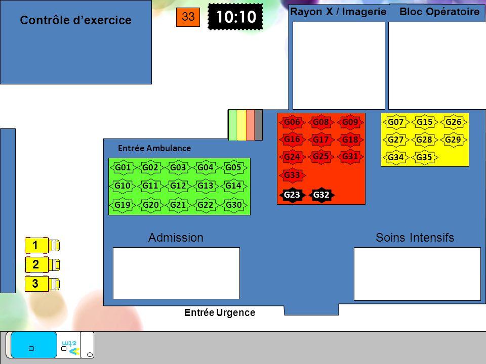 Entrée Urgence Entrée Ambulance Soins Intensifs Bloc Opératoire Rayon X / Imagerie Admission G01 G02G03G04 G05 G10G11G12G13G14 G17G18 10:10 G08 G07 G0