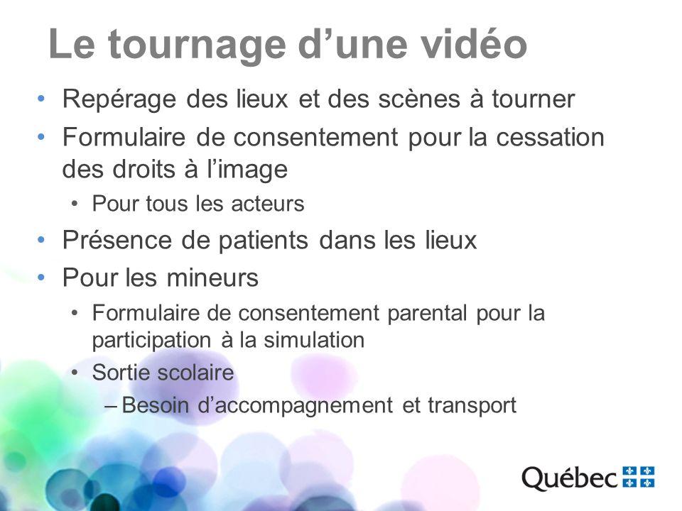 Le tournage dune vidéo Repérage des lieux et des scènes à tourner Formulaire de consentement pour la cessation des droits à limage Pour tous les acteu