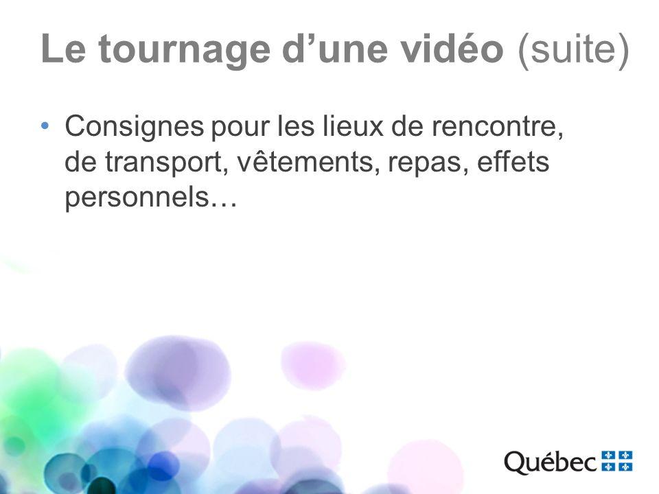 Le tournage dune vidéo (suite) Consignes pour les lieux de rencontre, de transport, vêtements, repas, effets personnels…