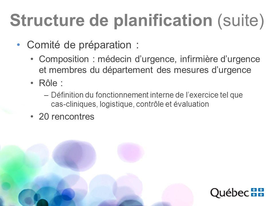 Structure de planification (suite) Comité de préparation : Composition : médecin durgence, infirmière durgence et membres du département des mesures d