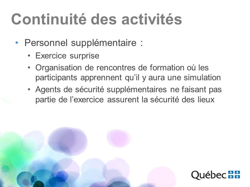Continuité des activités Personnel supplémentaire : Exercice surprise Organisation de rencontres de formation où les participants apprennent quil y au
