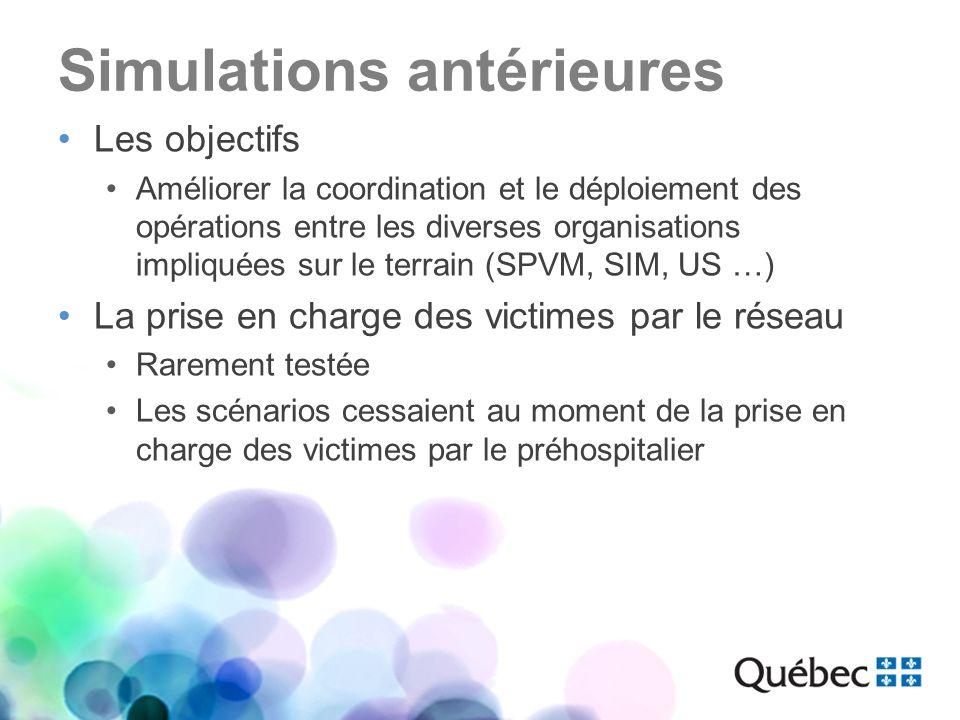Simulations antérieures Les objectifs Améliorer la coordination et le déploiement des opérations entre les diverses organisations impliquées sur le te