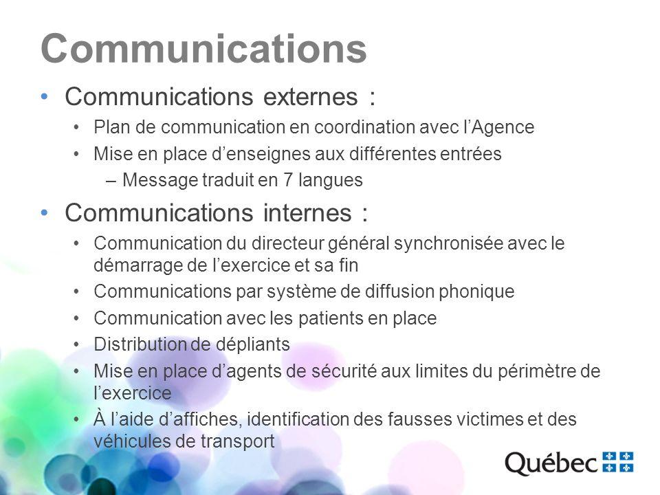 Communications Communications externes : Plan de communication en coordination avec lAgence Mise en place denseignes aux différentes entrées –Message
