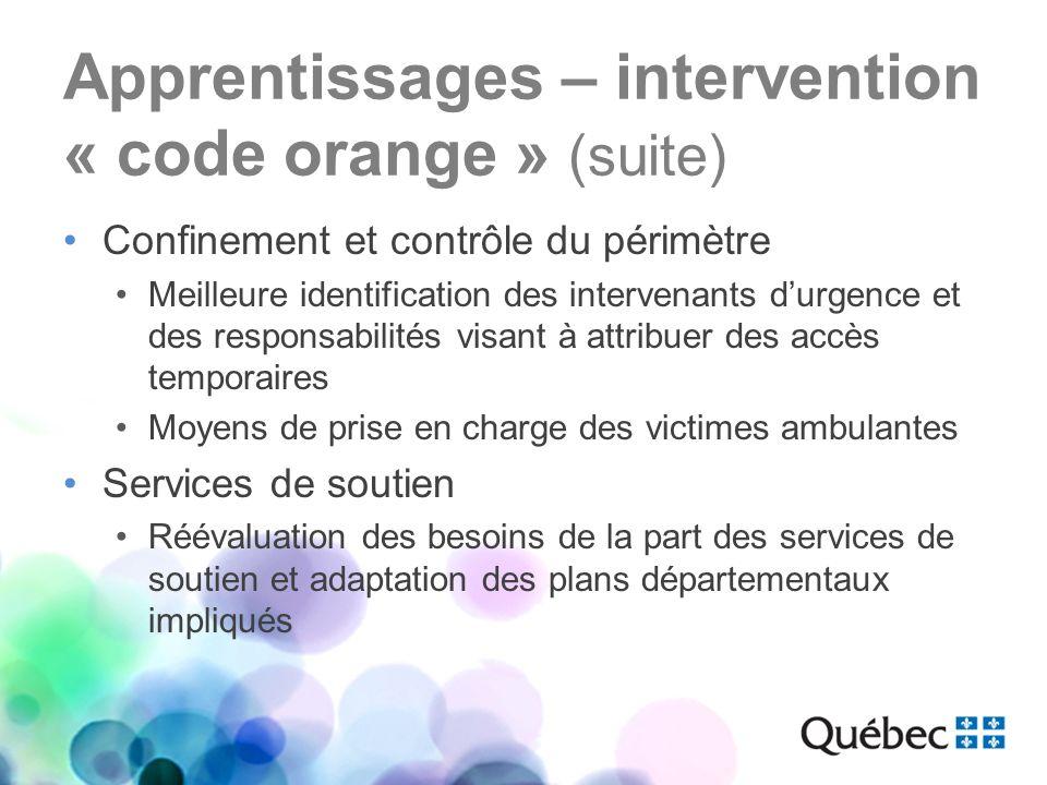 Apprentissages – intervention « code orange » (suite) Confinement et contrôle du périmètre Meilleure identification des intervenants durgence et des r