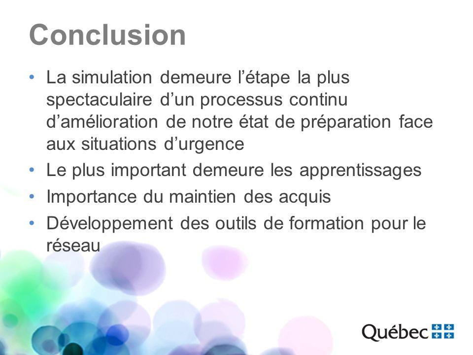 Conclusion La simulation demeure létape la plus spectaculaire dun processus continu damélioration de notre état de préparation face aux situations dur