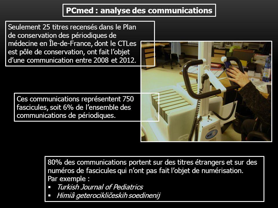 PCmed : analyse des communications Seulement 25 titres recensés dans le Plan de conservation des périodiques de médecine en Île-de-France, dont le CTLes est pôle de conservation, ont fait lobjet dune communication entre 2008 et 2012.