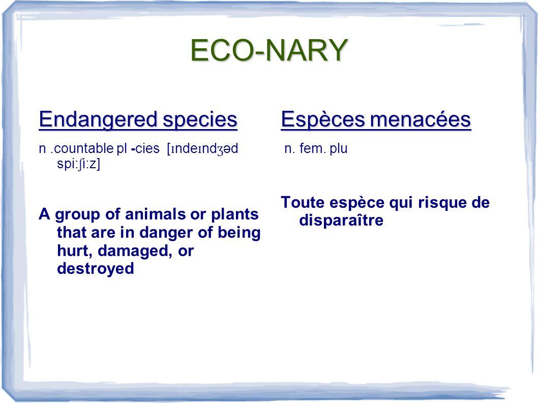 ECO-NARY Environment n.[ ɪ nva ɪ rənmənt] 1.