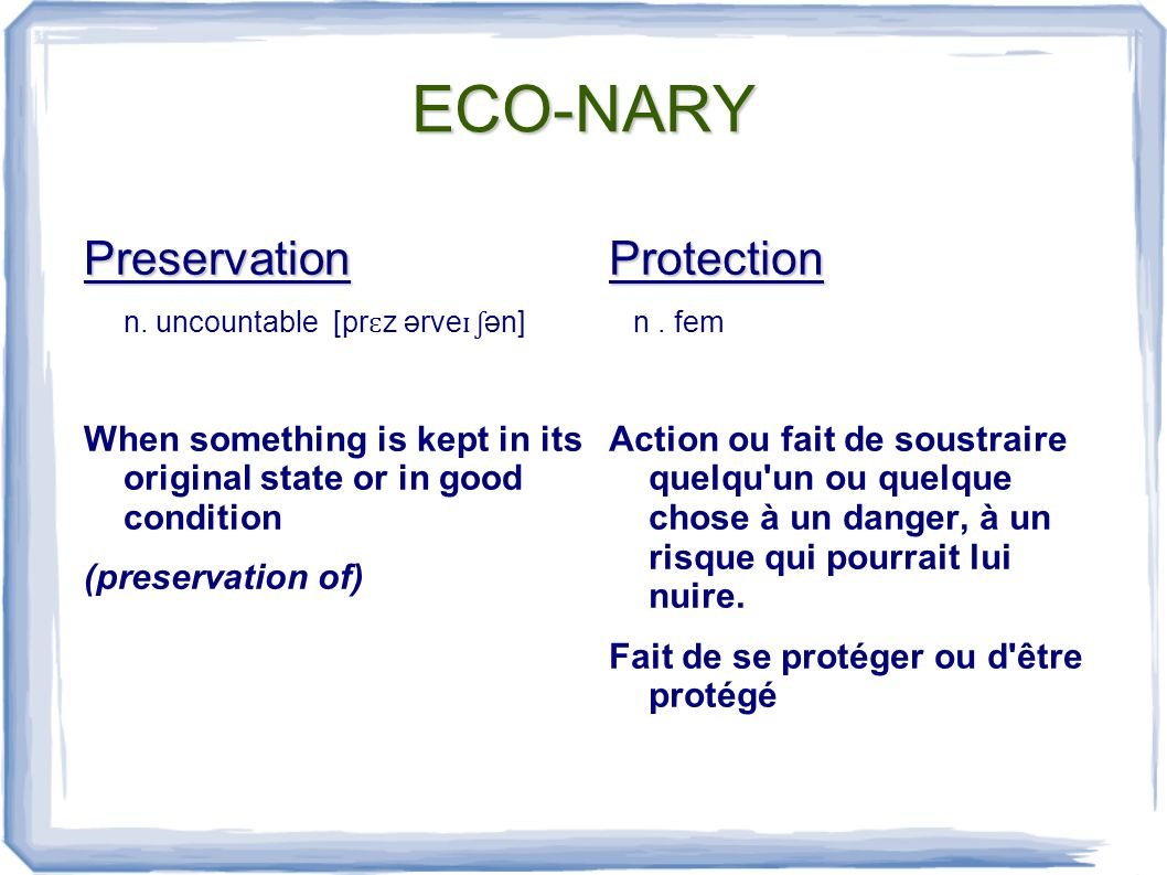 ECO-NARY Preservation n.