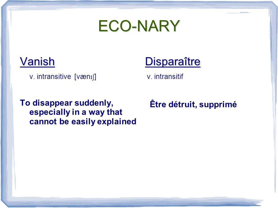 ECO-NARY Vegetation n.uncountable [v ɛ d ʒɪ te ɪʃ ən] Plants in general Végétation n.