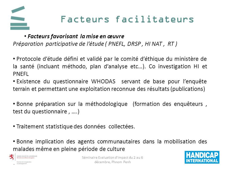 Facteurs facilitateurs Facteurs favorisant la mise en œuvre Préparation participative de létude ( PNEFL, DRSP, HI NAT, RT ) Protocole détude défini et validé par le comité déthique du ministère de la santé (incluant méthodo, plan danalyse etc…).