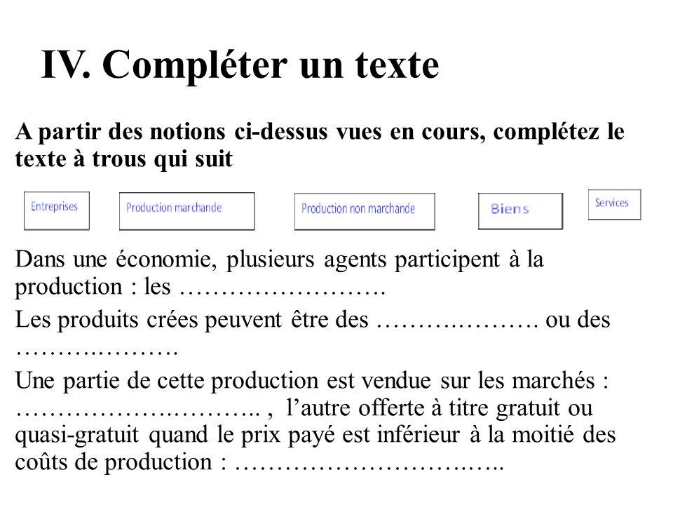 IV. Compléter un texte A partir des notions ci-dessus vues en cours, complétez le texte à trous qui suit Dans une économie, plusieurs agents participe