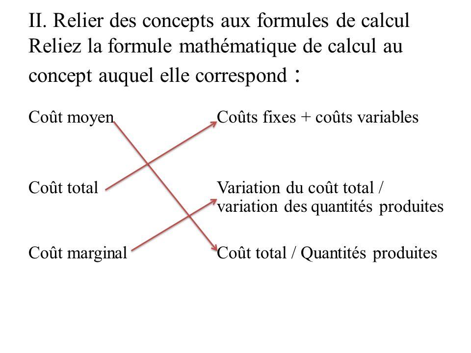 II. Relier des concepts aux formules de calcul Reliez la formule mathématique de calcul au concept auquel elle correspond : Coût moyen Coûts fixes + c