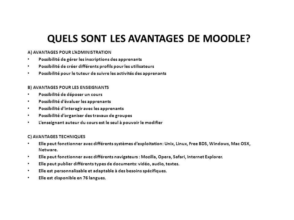 QUELS SONT LES AVANTAGES DE MOODLE.