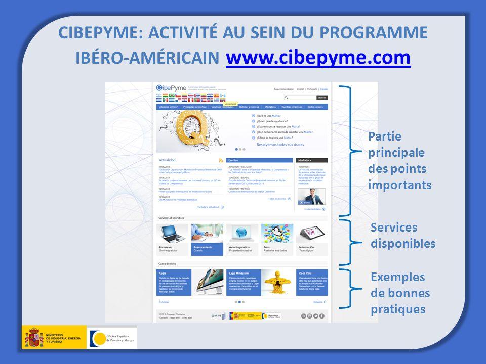 CIBEPYME: ACTIVITÉ AU SEIN DU PROGRAMME IBÉRO-AMÉRICAIN www.cibepyme.com www.cibepyme.com Partie principale des points importants Services disponibles Exemples de bonnes pratiques