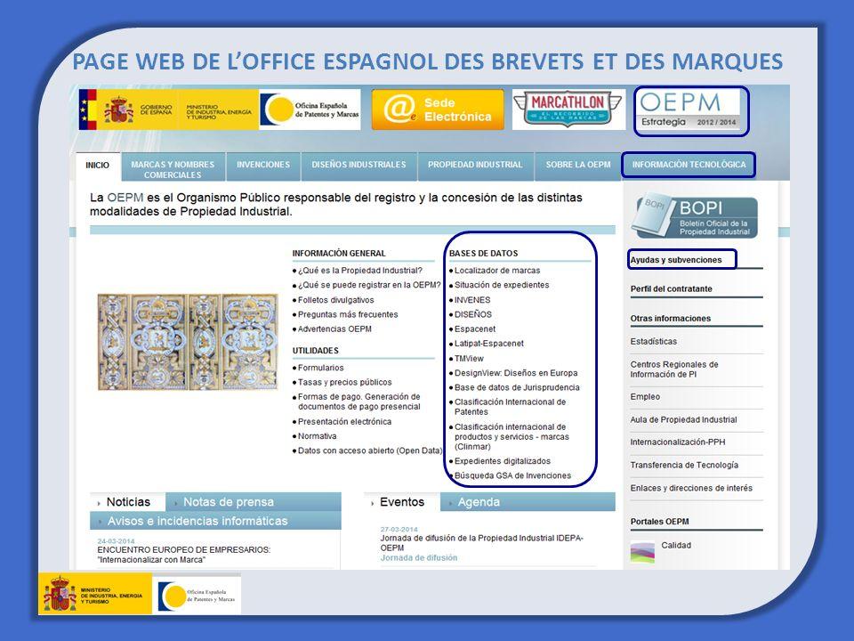 PAGE WEB DE LOFFICE ESPAGNOL DES BREVETS ET DES MARQUES